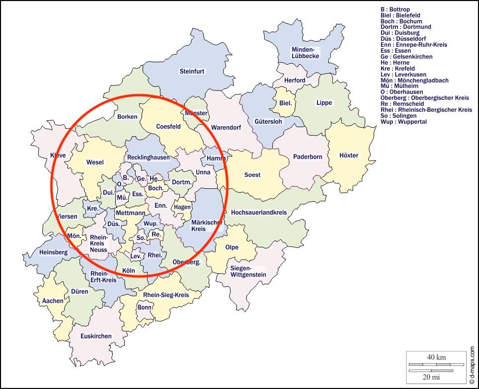 Karte Einzugsgebiet der Entrümpelungsprofis NRW